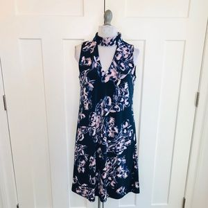 IVANKA TRUMP Blue floral cut out high neck dress